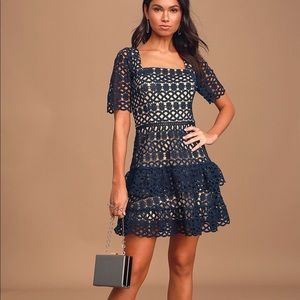 NWT Lulu'sNavy Blue Crochet Lace Tiered Mini Dress
